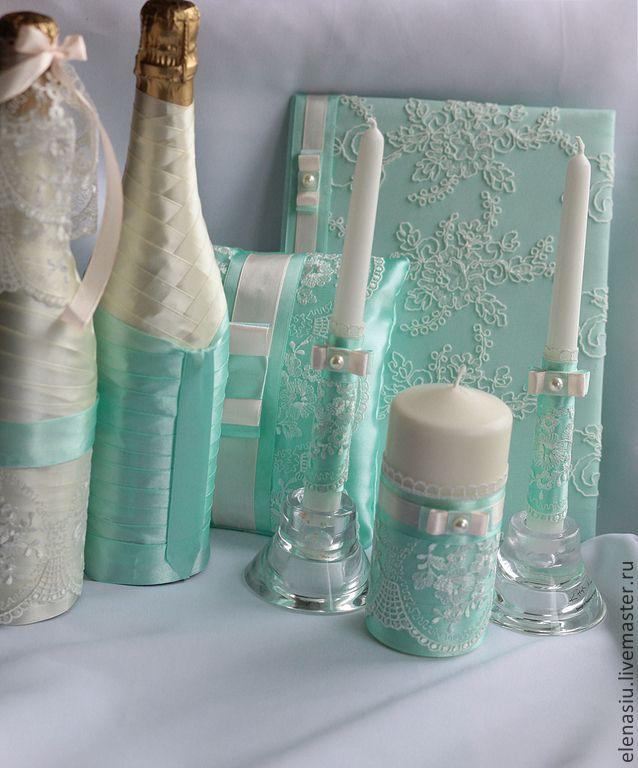 """Купить Оформление бутылок шампанского на свадьбу """"Жених-невеста"""" в мятном - мятный, розовый, мятная свадьба"""