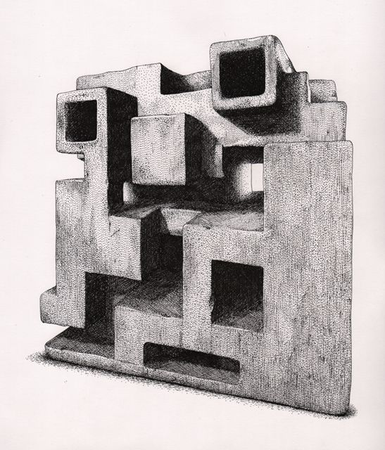 The Cube  Johan Stenbeck  2012. Inkdrawing on paper, 42 x 29,7.