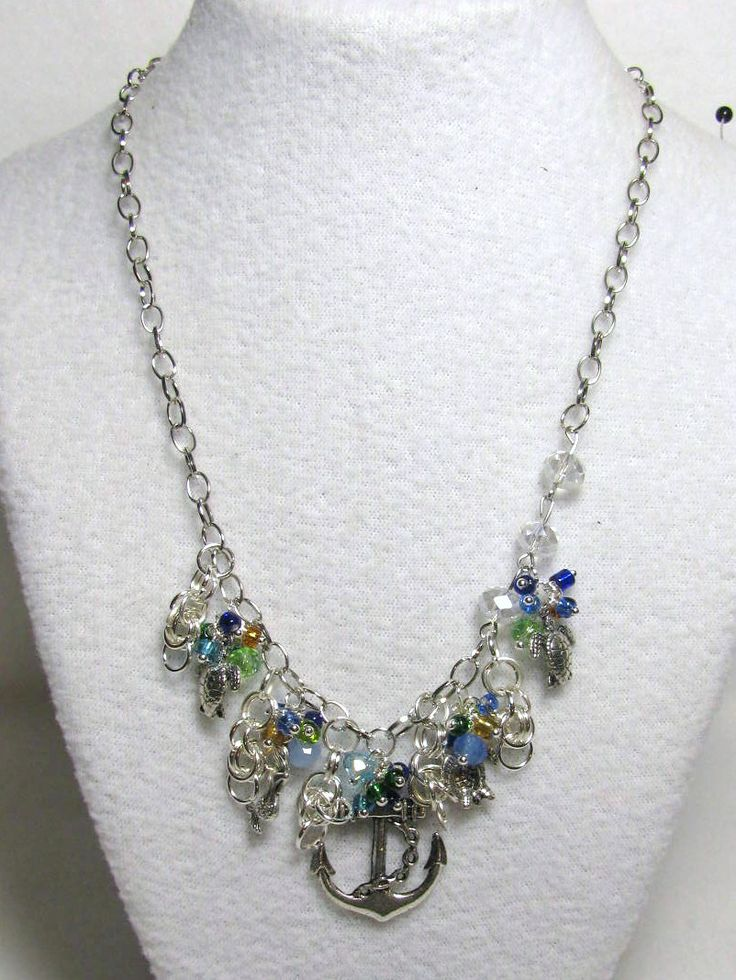 Item 1382 - **Under the Sea** Beautiful 20 x 25mm Anchor, Mermaid, Sea Turtles, Seed Beads & Swarovski 6mm Crystals on Single link Chain Necklace $36 + $6 S&H. Designs by LK...Visit all my BEAUTIFUL jewelry pages, just follow the link: https://www.facebook.com/linda.foust.9?sk=photos...