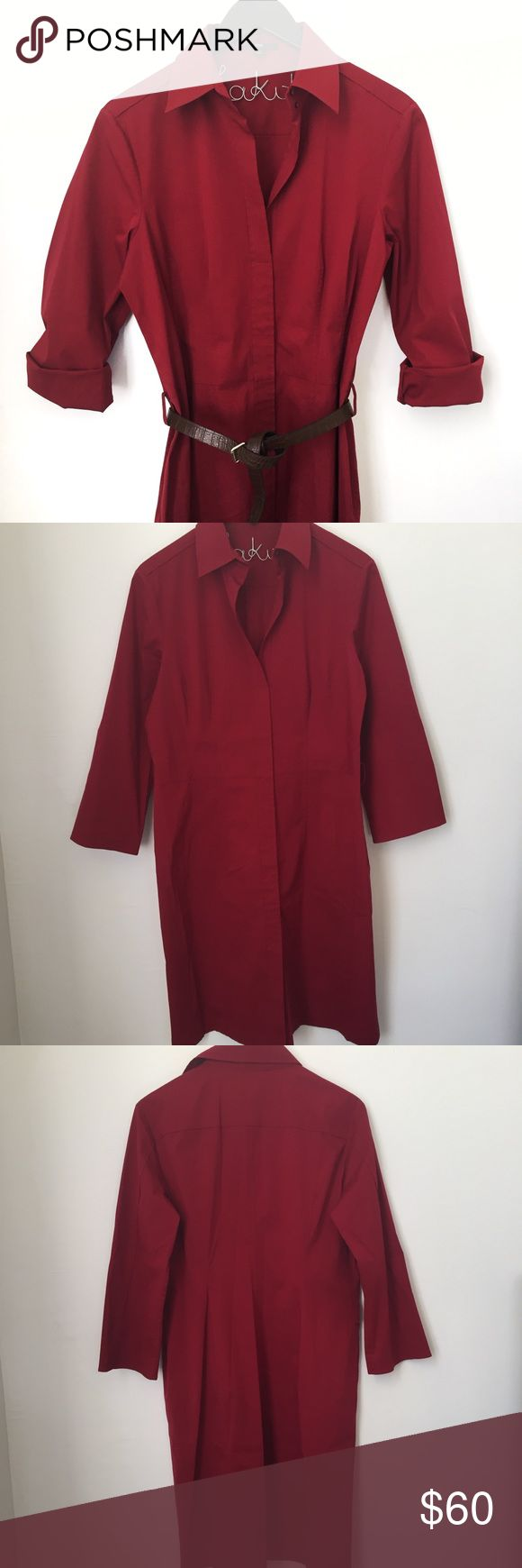 """Hugo Boss Burgundy Shirt Dress NWOT. No stains, no rips. The only thing is that it does not come with the belt.  3/4 sleeve. Concealed side zipper. Deep red color.  Aprox Measurements laying flat....  Pit to pit: 20.5"""", sleeve inseam 14"""", Length 39.5""""  ☠ No Trades ♡ Offers welcome ♡ Bundle discounts (2+) available!  ♡ IG: makita_banana 509 Hugo Boss Dresses"""