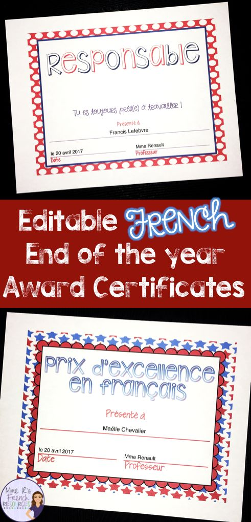 Do you want to celebrate your French students' success with a special award? These editable reward certificates are perfect for your middle school or high school French class! 34 colorful certificates to print. You can print and go or type your students' names in!  Also includes certificates with FULLY EDITABLE text.  Click here to see more!