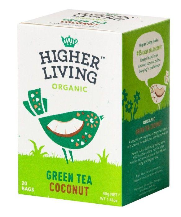 Bild på Higher Living Green Tea Coconut 20 tepåsar