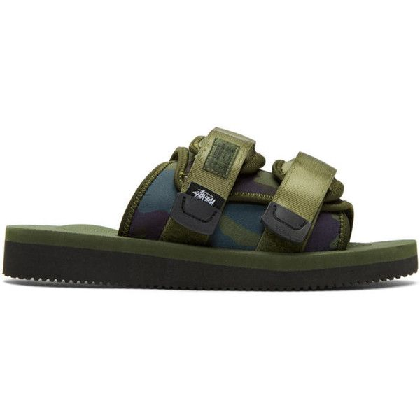 Suicoke Green Stussy Edition Moto Sandals ($220) ❤ liked on Polyvore featuring men's fashion, men's shoes, men's sandals, green, mens velcro shoes, mens round toe shoes, mens strap sandals, mens green shoes and mens camo shoes