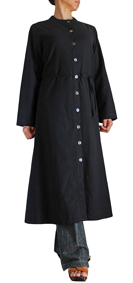ジョムトン手織綿前ボタンロングドレスコート