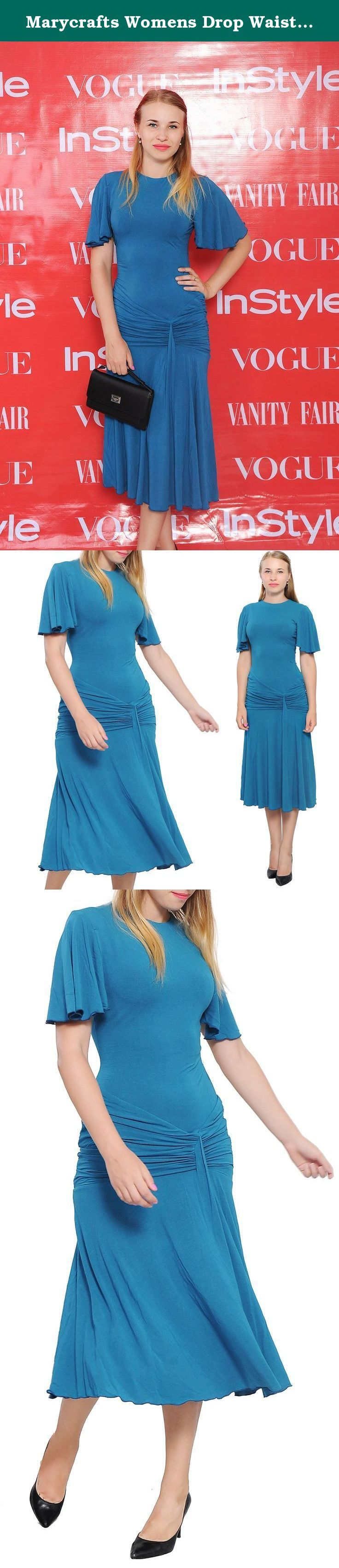 "Marycrafts Womens Drop Waist Midi Dress Flapper Vintage Retro 1920s 16 Teal. Extremely elegant dress for lady, with design inspired by vintage 1920s style, it features short butterfly sleeves, round neck, drop decoration waist, pleated fish tail skirt, midi length. It is made of luxury ponte di roma fabric. Dry washing prefered, machine washable (but less durable). Photos say it all. Length (from shoulder): ~50"" (125 cm) Regular fit, short butterfly sleeves, round neck, drop decoration…"