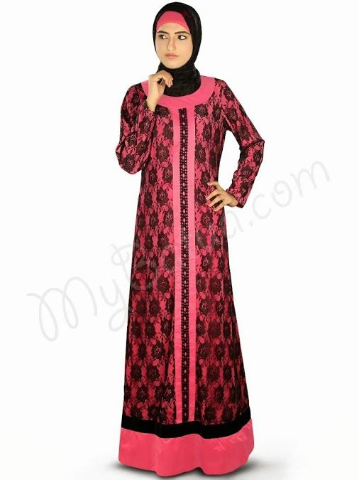 Pretty Abaya for formal occasions by MyBatua, this dress is designed with flower net & beautiful lace detailing, a complete stylish Abaya Straight Abaya with round neckline Crepe fabric attached at bottom with velvet lace Straight sleeves Utility pockets on both sides Matching Square Hijab (100x100 cm approx.) and Band can be bought separately. Color: Sweet Pink & Black