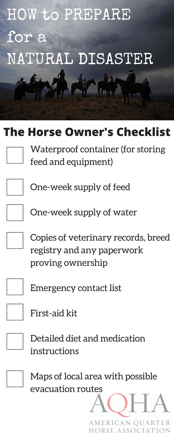 Horse Owner's Checklist: Preparing for a Natural Disaster (flooding, hurricanes, tornadoes, wildfires or earthquakes)