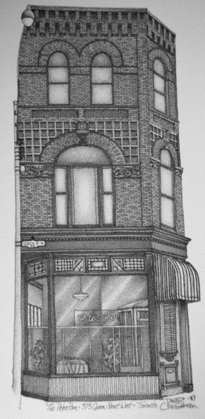 Recently re-opened, the Queen St. nostalgia restaurant @PeterPanBistro Restaurant B&W, Toronto, Canada by Artist Illustrator David Crighton ArtE