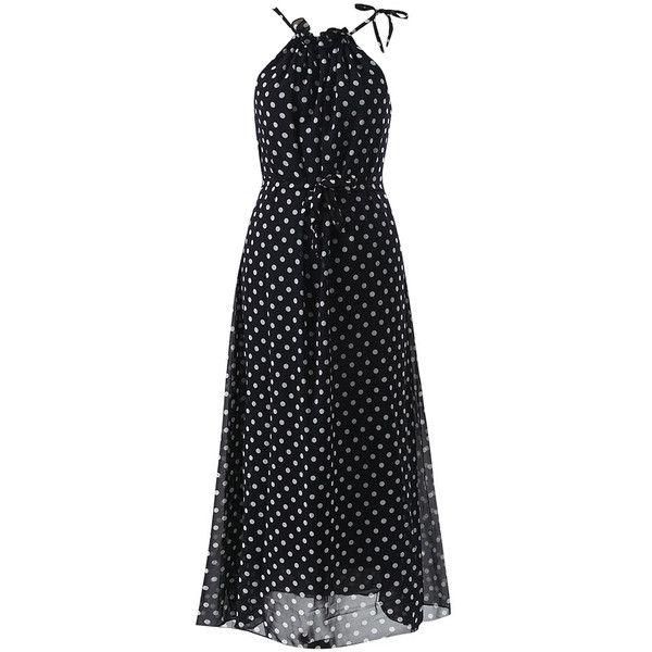 Black Halter Polka Dot Chiffon Maxi Dress (490 MXN) ❤ liked on Polyvore featuring dresses, dot dresses, polka dot maxi dress, halter top, halter neck dress and chiffon dresses