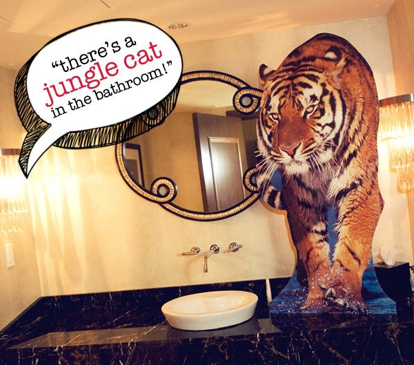 Put a cutout of a tiger in the bathroom - Southern Outdoor Cinema expert tip for theming and enhancing an outdoor movie event.