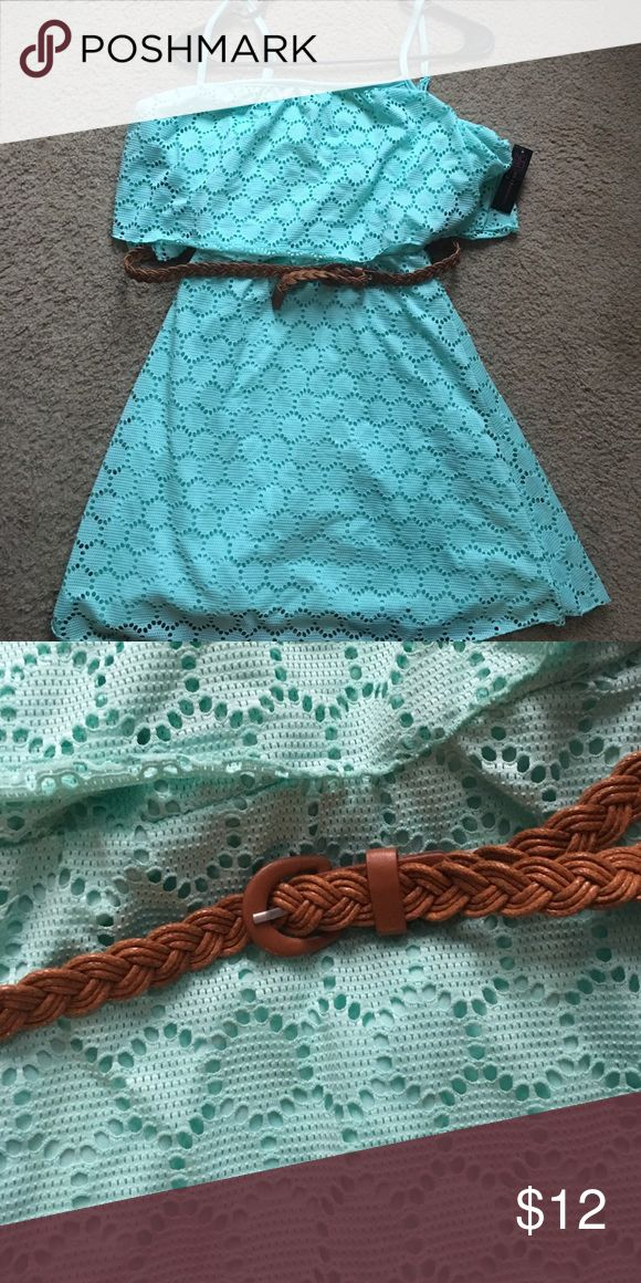 NWT junior summer dresss Mint green colored summer dress very cute just a little to small. This is NWT only has been tried on. Includes a very cute belt that loops through the back. I'm 5'1 and this dress was short enough that i needed leggings under it. No Boundaries Dresses Midi