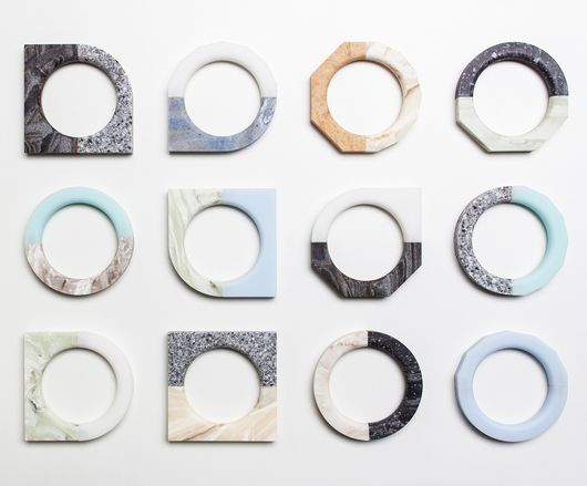 By Indiana-based Luur Studio: Corian + neodymium magnets make it possible to swap out halves of the North/South bracelets