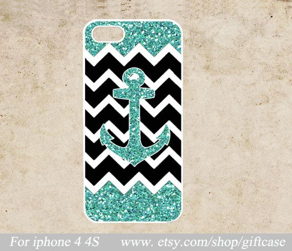 Anchor iPhone 4 Case,chevron iPhone 4s Case,Glitter Iphone Case, Glitter Anchor,cover skin case,hard Plastic Geometric Phone  Case on Etsy, $6.99