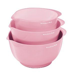 KitchenAid Pro Set of 3 Mixing Bowls, Pink.... oh yeah... i have to get these babies!