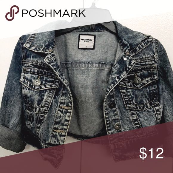 Highway Jeans brand denim jacket, size S Highway Jeans denim jacket, size S. Acid wash low cut with button up closure. Has adjustable length sleeves. Highway Jeans Jackets & Coats Jean Jackets