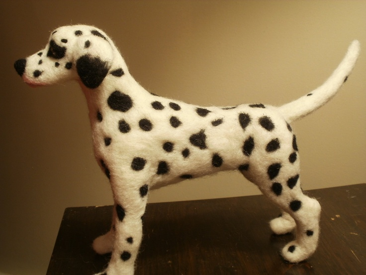 "Artist Needle Felted Dalmation Dog ""Spots"" OOaK Sculpture."