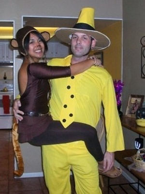 famous hats curious george and the man in the yellow hat couples halloween costume contest bahahahaha