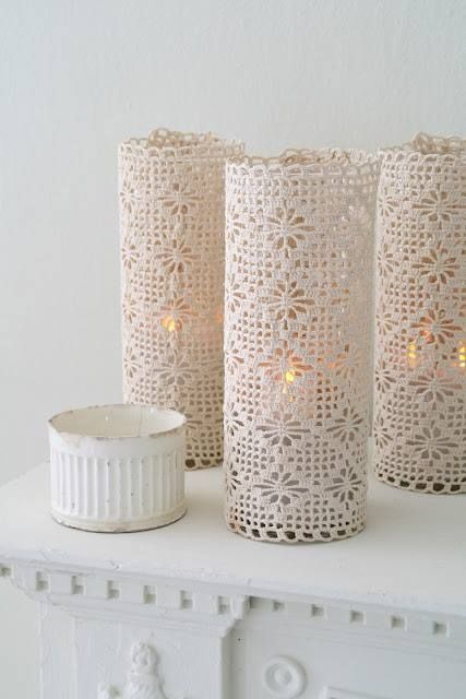 Beautiful white filet crochet lamp / jar covers                                                                                                                                                      More                                                                                                                                                                                 More