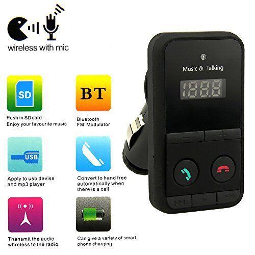 Goliton® Sans fil Bluetooth Lecteur MP3 transmetteur FM kit USB SD LCD à distance de voiture Disque Support USB et une carte SD,chargeur de…