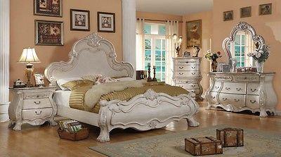 Formal Traditional Antique White Bedroom Set Queen Bed Dresser Mirror Nightstand