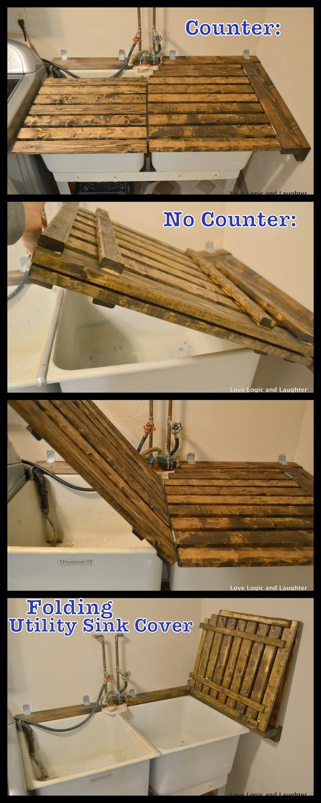 DIY counter over utility sink - fold away to use sink or fold down for countertop space.