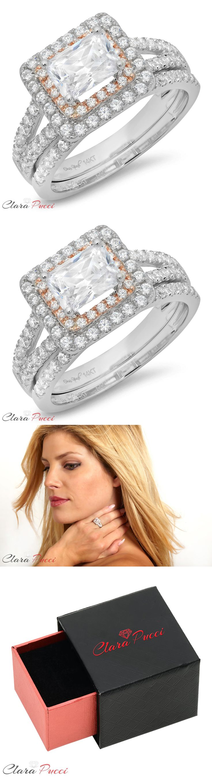 ebay eheringe ebay wedding rings sets Other Wedding Ring Sets 1 70 Ct Emerald Cut Engagement Bridal Ring Band Set Simulated