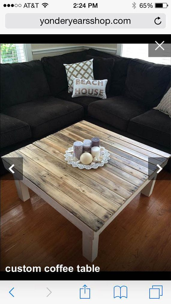 Free Shipping - Beach house / Lake house  Reclaimed Wood Coffee Table - Square Coffee Table - Rustic Table - Pallet Wood