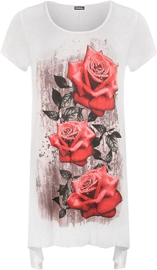 dcfca4b5c30 NEW GIRL Women Ladies Rose Print Plain Cap Sleeve Scoop Neck Hanky Hem  Flared Swing Tunic