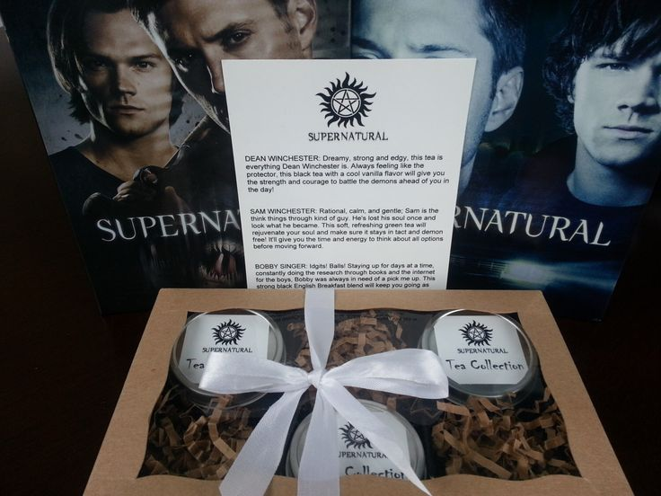 Supernatural TV Show Inspired Tea Collection Hand Blended Set of Three Tea Tins, Dean & Sam Winchester, Bobby Singer by 3rdCoastKitchen on Etsy https://www.etsy.com/au/listing/166956875/supernatural-tv-show-inspired-tea