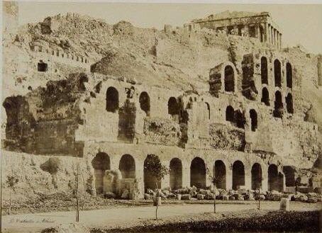 Facade of the Odeon of Herodes Atticus. Athens, circa 1865. Dimitrios Constantinou