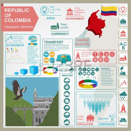 Colombia infographics statistical data sights illustration Stock Vector