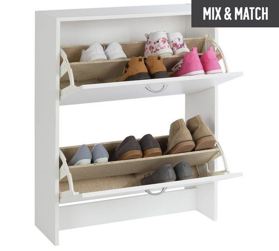 Buy HOME 2 Tier Shoe Cabinet - White at Argos.co.uk, visit Argos.co.uk to shop online for Hallway storage, Hallway furniture, Home and garden
