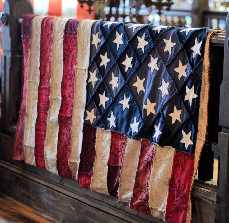 American Flag Quilt by Alabama Chanin - On display at Southern Accents Architectural Antiques - www.sa1969.com