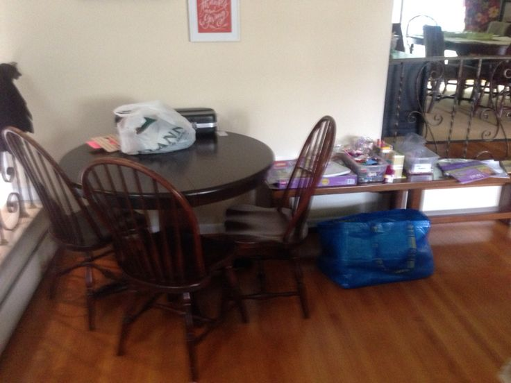 Other table, long bench corner. Visible when enter house
