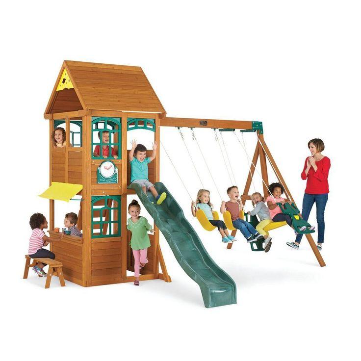 All About Amazoncom Springfield Ii Wooden Swing Set By Kidkraft