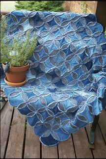 denim quilt - I'm liking this option actually, maybe I won't add anything to the centers and just have the contrasting colour, maybe just have a coloured patch in one window..