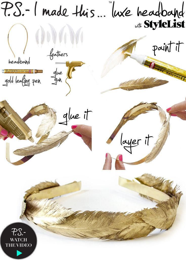 Gold Feather Headband    To create: Use a gold leafing pen to cover the entire feather. Repeat until you have enough feathers to cover the surface of your headband. Using a glue gun carefully adhere the feathers to your headband. Allow a few minutes for the glue to dry, and voilayoure fit for a fairytale!     Get down with DIY and a dope playlist CLICK HERE for the P.S.- I made thisPlaylist Curated by The Jane Doze