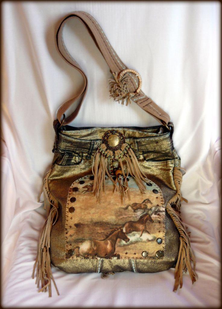 Handmade by Judy Majoros - Fringe denim-gold -denim boho bag with horses. Recycled bag. beaded-leather ringe-lace-stud