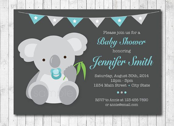 Koala Baby Shower Invitation, Koala Invite, Baby Boy, Digital Printable Invitation