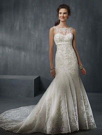 Alfred Angelo Bridal Gown Spring 2012 Style #2302 Net #weddingdress, Satin, Re-Embroidered Lace with Metallic Accents,  Crystal Beading, Pearls & Sequins,  Semi-Cathedral Train   #AlfredAngelo