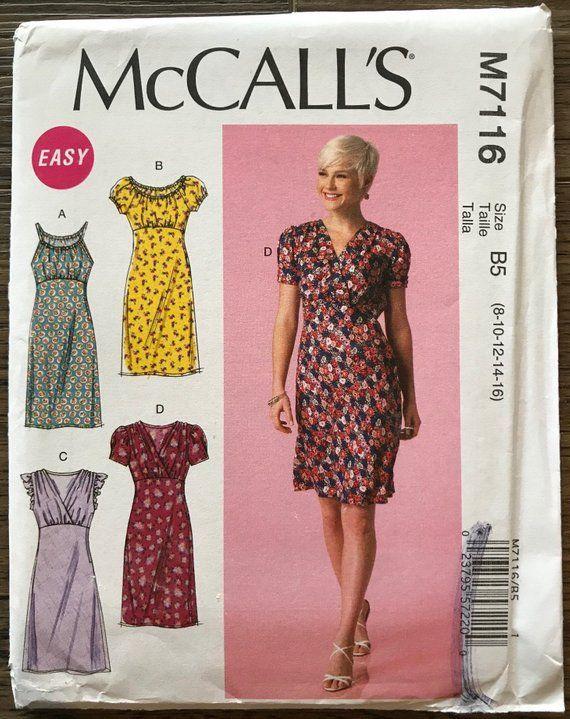 723ad1d64c UNCUT Misses  Dress Sewing Pattern McCall s 7116 Size 8-10-12-14-16  Cocktail Dress