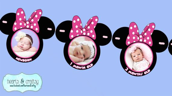 Minnie Mouse First Year Photo Banner / 12 Month Picture Banner by HeartsandCraftsy
