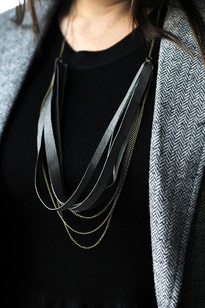 DIY necklace with leather straps