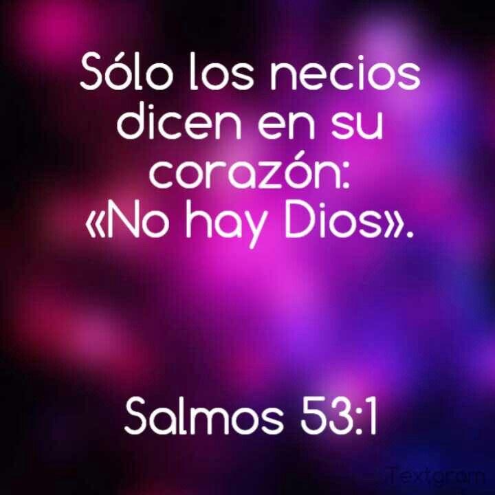 """""""Sólo los necios dicen en su corazón: «No hay Dios»."""" Salmos 53:1"""