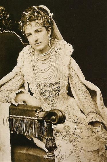 Queen Margherita of Italy in a Renaissce-stye dress