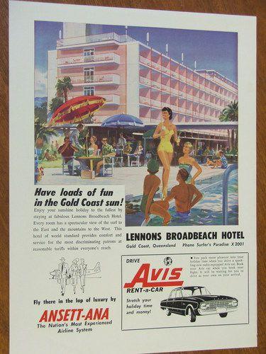 1961 Lennons Broadbeach Hotel Avis XK Falcon Original Full Page Advertisement   eBay
