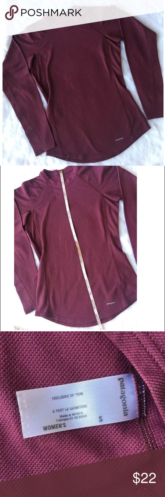 Patagonia Capilene Dark Red Long Sleeve Top S Patagonia  Capilene  Base layer long sleeve  Small  Dark Red  Length - 25, Shoulders - 15, Sleeves - 21, Chest - 34 inches  Pre owned- clean, no rips, worn a few times Patagonia Tops Tees - Long Sleeve