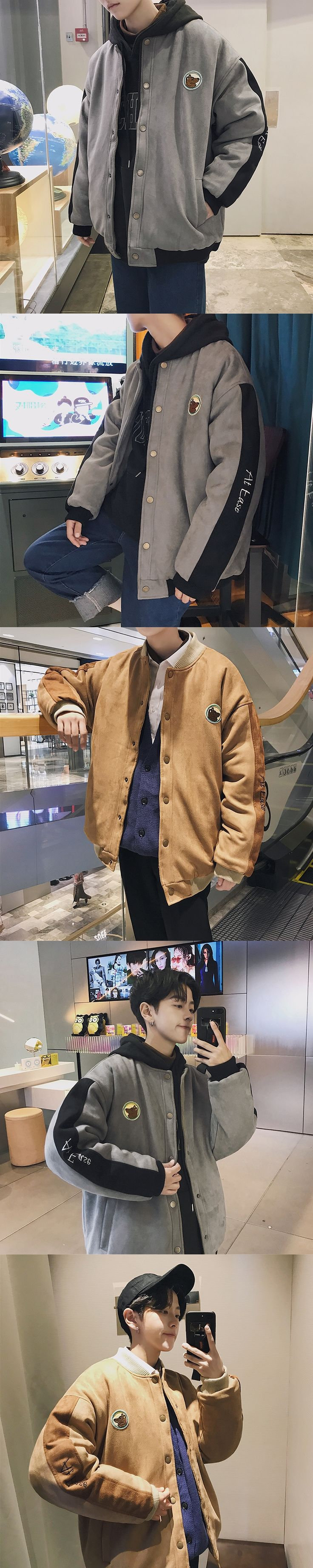 2017 Winter New Men's Korean Style Tide Deerskin Embroidery Labeling Cotton-padded Clothes Warm Casual 2 Color Jacket Coat M-2XL