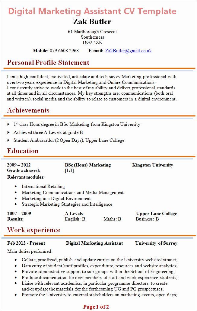 Digital Marketing Resume Example Awesome Digital Marketing