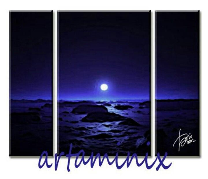 Blue #dark #landscape #art #handmade #moon #romantic #artaminix #idea #arredo #home